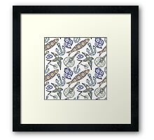 Collection of traditional Portuguese icons in seamless pattern Framed Print