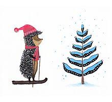 Nursery art - Winter adventure of hedgehog Photographic Print