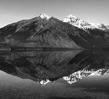 Mirror Reflection in Lake McDonald ~ Black & White by Lucinda Walter