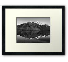 Mirror Reflection in Lake McDonald ~ Black & White Framed Print