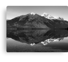 Mirror Reflection in Lake McDonald ~ Black & White Canvas Print