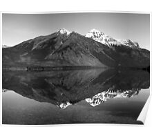 Mirror Reflection in Lake McDonald ~ Black & White Poster