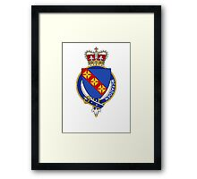 Coat of arms (family crest) for last-name or surname McFadden (Ireland) . Heraldry banner for your name. Framed Print