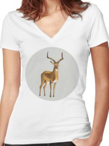 Ilustration art - Money antelope Women's Fitted V-Neck T-Shirt