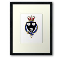 Coat of arms (family crest) for last-name or surname McGee or MacGhie (Scotland) . Heraldry banner for your name. Framed Print