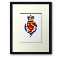Coat of arms (family crest) for last-name or surname McGill (Ireland) . Heraldry banner for your name. Framed Print