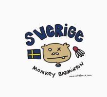 Swedish Monkey Badminton Team T Shirt by Ollie Brock