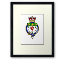 Coat of arms (family crest) for last-name or surname McGowan or Gow (Scotland) . Heraldry banner for your name. Framed Print