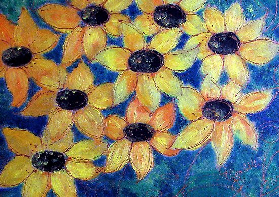 Sunflowers are smiling by Elizabeth Kendall