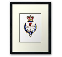 Coat of arms (family crest) for last-name or surname McGowan or Smith (Ireland) . Heraldry banner for your name. Framed Print