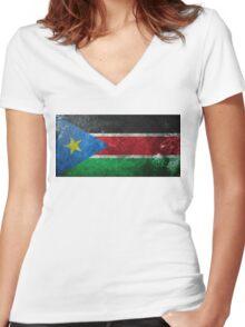 South Sudan Grunge Women's Fitted V-Neck T-Shirt