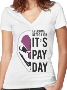 PAYDAY HOXTON REBORN : BLACK Women's Fitted V-Neck T-Shirt