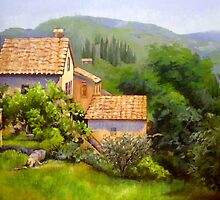 Large Tuscan Landscape Oil Painting by Chris Hobel