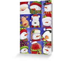 Cute Christmas gang - Santa, Snowman, Penguin, Polar Bear Greeting Card