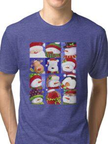 Cute Christmas gang - Santa, Snowman, Penguin, Polar Bear Tri-blend T-Shirt