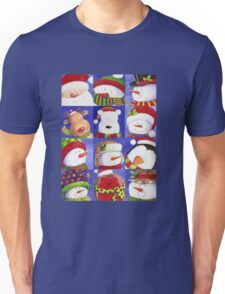 Cute Christmas gang - Santa, Snowman, Penguin, Polar Bear Unisex T-Shirt