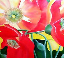 Exuberance -bright floral artwork by Vicki Whalan
