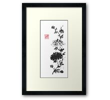 Flower scroll of light and shadow sumi-e painting Framed Print