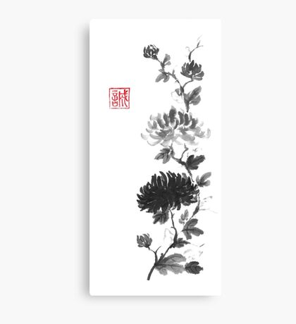 Flower scroll of light and shadow sumi-e painting Canvas Print