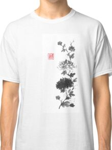 Flower scroll of light and shadow sumi-e painting Classic T-Shirt