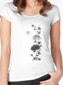 Flower scroll of light and shadow sumi-e painting Women's Fitted Scoop T-Shirt