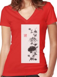 Flower scroll of light and shadow sumi-e painting Women's Fitted V-Neck T-Shirt
