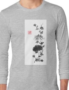 Flower scroll of light and shadow sumi-e painting Long Sleeve T-Shirt