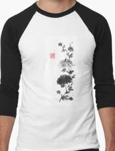 Flower scroll of light and shadow sumi-e painting Men's Baseball ¾ T-Shirt