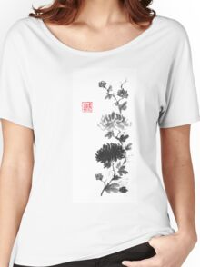 Flower scroll of light and shadow sumi-e painting Women's Relaxed Fit T-Shirt
