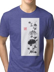 Flower scroll of light and shadow sumi-e painting Tri-blend T-Shirt