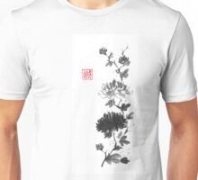 Flower scroll of light and shadow sumi-e painting Unisex T-Shirt