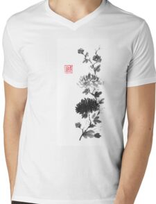 Flower scroll of light and shadow sumi-e painting Mens V-Neck T-Shirt