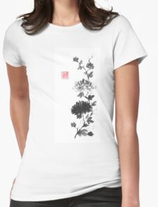 Flower scroll of light and shadow sumi-e painting Womens Fitted T-Shirt