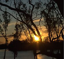 Sunset on the river at Loxton by imaginethis