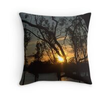 Sunset on the river at Loxton Throw Pillow