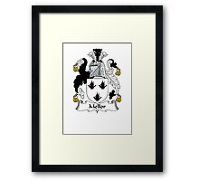 Coat of arms (family crest) for last-name or surname Mellor . Heraldry banner for your name. Framed Print