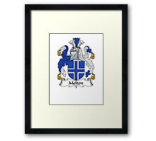Coat of arms (family crest) for last-name or surname Melton . Heraldry banner for your name. Framed Print