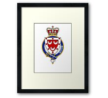 Coat of arms (family crest) for last-name or surname Melvin or Melville (Scotland) . Heraldry banner for your name. Framed Print