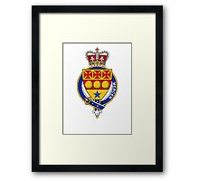 Coat of arms (family crest) for last-name or surname Mercer (Scotland) . Heraldry banner for your name. Framed Print