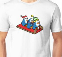 3 winter penguins on a sledge Unisex T-Shirt