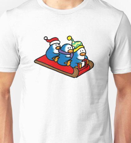 3 winter penguins on a sledge Unisex T-Shirt