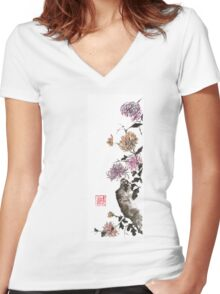 Touch of color sumi-e painting Women's Fitted V-Neck T-Shirt