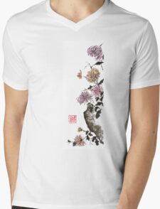 Touch of color sumi-e painting Mens V-Neck T-Shirt