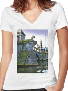 Canals Of Amsterdam IV Women's Fitted V-Neck T-Shirt