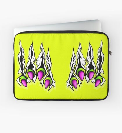 Ripping Monster Claws Demon Within Lime and Pink Laptop Sleeve