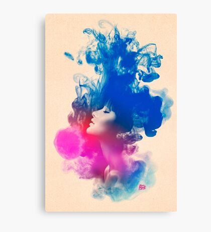 Psychedelic Ink Splash Watercolor Girl Portrait Canvas Print