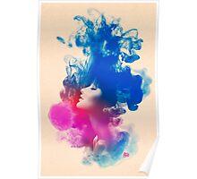 Psychedelic Ink Splash Watercolor Girl Portrait Poster