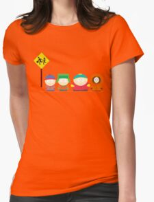 South Park Bus stop Womens Fitted T-Shirt
