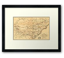 Civil War Sherman's March from Atlanta to Goldsboro Map Framed Print