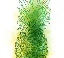 Fresh pineapple with colour splashes by Carl Conway